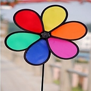 """Picture of WW109  6 Color Small Rainbow Daisy Spinner 11.5"""" x 16.5"""" [C5F,G5A]"""