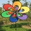 "Picture of WW101  Rainbow 3D Double Flower Wind Wheel 7.5"" x 15"" [C5D]"