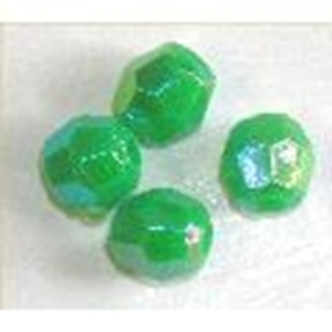 Picture of BD8FR9  8mm rainbow green faceted shaped plastic beads