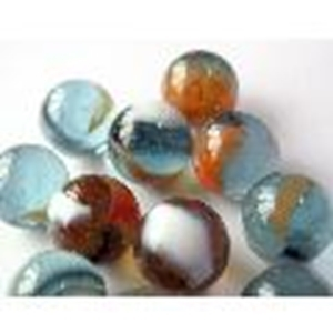 Picture of M185 16MM Transparent blue with various colored swirls marbles