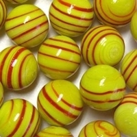 Picture of M339  HANDMADE 25mm set of 2 Red Striped Yellow colored Twisted Marbles