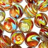 Picture of M352  HANDMADE 25mm set of 10 Tri color Twisted Marbles