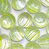 Picture of M336  HANDMADE 25mm set of 2  Transparent Clear with Green & Yellow Stripes Marbles