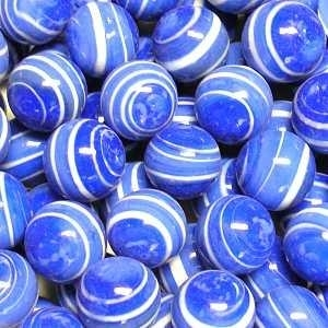 """Picture of M304  HANDMADE 16MM Set of 10 5/8"""" Blue w/white stripes Marbles"""