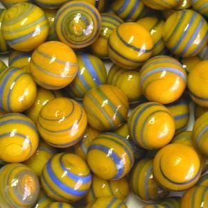 Picture of M303  HANDMADE 16MM set of 10 Blue & Gray Twisted Orange Marbles