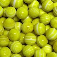 Picture of M316  HANDMADE 16MM set of 10 Yellow w/white stripes marbles