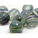 Picture of M319  HANDMADE 16MM set of 10 Clear with blue, green, white striped Marbles