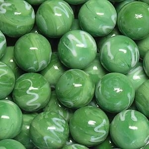 Picture of M320  HANDMADE 16MM set of 10 Green w/White Swirls Marbles