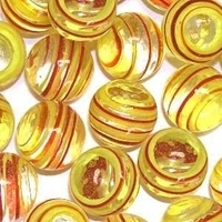 Picture of M333  HANDMADE 25mm set of 2 Transparent Clear with Red & Yellow Stripes Twisted Marbles