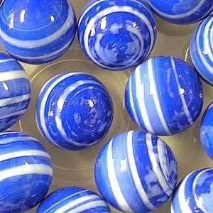 Picture of M334  HANDMADE 25mm set of 2  White Striped Blue colored Twisted Marbles