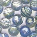 Picture of M335  HANDMADE 25mm set of 2 Transparent Clear with Blue and Yellow Stripes Marbles