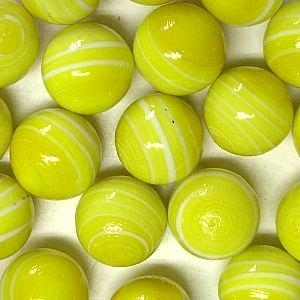 Picture of M340  HANDMADE 25mm set of 2 White Striped Yellow colored Twisted Marbles