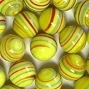 Picture of M341  HANDMADE 25mm set of 2  Red & Green Twisted Yellow Marbles