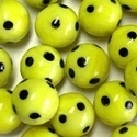 Picture of M342  HANDMADE 25mm set of 2 Yellow with Black Spots Marbles