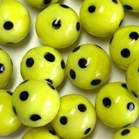 Picture of M342  HANDMADE 25mm set of 10 Yellow with Black Spots Marbles
