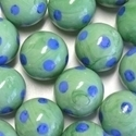 Picture of M343  HANDMADE 25mm set of 2 Blue Spotted Green Marbles