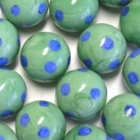 Picture of M343  HANDMADE 25mm set of 10 Blue Spotted Green Marbles