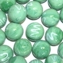 Picture of M344  HANDMADE 25mm set of 2 Green with White Swirls Marbles