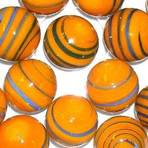 Picture of M345  HANDMADE 25mm set of 2  Dark Blue Striped Orange colored Twisted Marbles