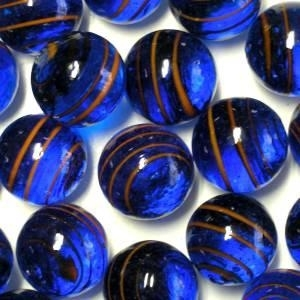 Picture of M346  HANDMADE 25mm set of 10 Transparent Blue with Red Stripes Marbles