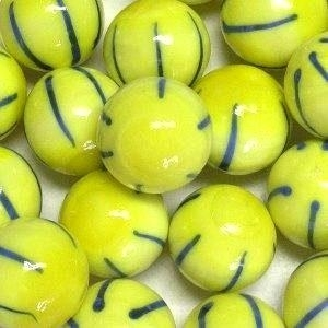 Picture of M330  HANDMADE 25mm set of 2 Yellow with Blue Striped Marbles