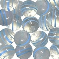 Picture of M355  HANDMADE 25mm set of 2 Transparent Clear with Light Blue Striped Twisted Marbles