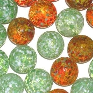 Picture of M354  HANDMADE 25mm set of 10 Transparent Green speckled with White & Transparent Red