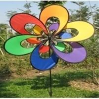 "Picture of WW101  Rainbow 3D Double Flower Wind Wheel 7.5"" x 15"" [C5D]"