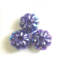 Picture of BD6FL10B  6mm dark purple flower shaped beads