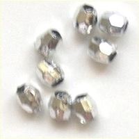 Picture of BD6FM11  6mm silver metallic faceted shaped plastic beads