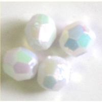 Picture of BD8FR15  8mm RAINBOW WHITE faceted shaped plastic beads