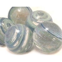 Picture of M329  HANDMADE 25mm set of 2 Transparent Clear Blue and Green Twisted colored marble