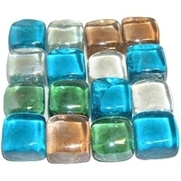 Picture of M68  Glass Gems  Mixed Colors, Cast Squares, Shiny 16MM thick