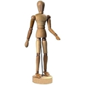 posable wooden mannequin or hand - opposable sectioned 12in Artist Doll has  movable joints and magnetic feet and hands.