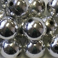 Picture of BD16R11  16mm METALLIC SILVER round plastic beads, approx 60pcs per 0.34lb/cup