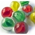 Picture of M142 16MM Transparent Clear With Red, Yellow and Green Swirls Glass Marbles