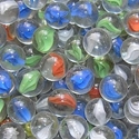 Picture of M143 16mm Transparent Clear With White, Yellow, Blue and Green Swirls Glass Marbles