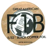 Black Copper foil with heat resistant adhesive for the stained glass artisan.