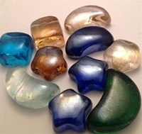 Picture of M67  Glass Gems  mixed colors & shapes, shiny. comes with moons, stars & squares 16MM thick