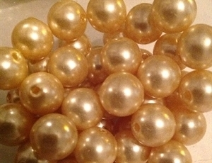 Picture of BD12R2A  12mm LIGHT YELLOW colored opaque round plastic beads, approx 152pcs per cup