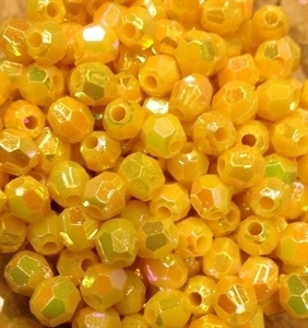 Picture of BD8FR2  8mm RAINBOW YELLOW faceted shaped plastic beads