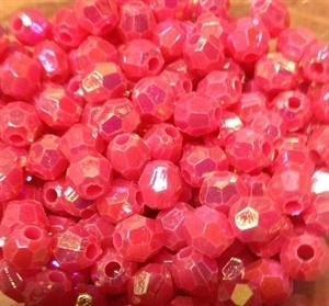 Picture of BD8FR4C  8mm rainbow hot pink faceted shaped plastic beads