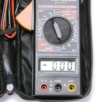 clamp meter-multimeter-digital meter with case closeup