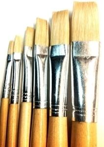 Picture of ART215  bristle hair paint brush 6pc set flat style