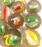 Picture of M217 25MM Transparent Clear With Red, Yellow, White and Green Swirls Shiny Glass Marbles  [E16i]