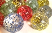 Picture of M229 25MM Transparent Clear Rolled In Colored Crushed Glass Marbles