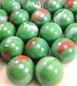 Picture of M245 25MM Green Base With Colored Swirls Shiny Glass Marbles