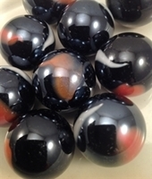 Picture of M214  1-in. Black Base With Orange and White Swirls Glass Marbles