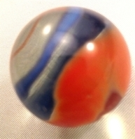 Picture of M223 25MM transparent clear with blue, yellow, red, orange swirls glass marbles