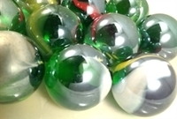 Picture of M244 25MM transparent green with colored swirls glass marbles